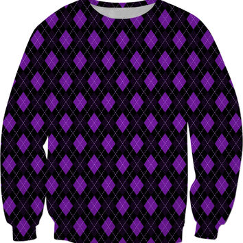 Classic sweatshirt design, retro argyle rhombus pattern, purple and black geometric design