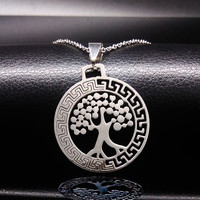 "Stainless Steel Tree of Life w/ Greek Key Pattern Pendant & 18"" Chain"