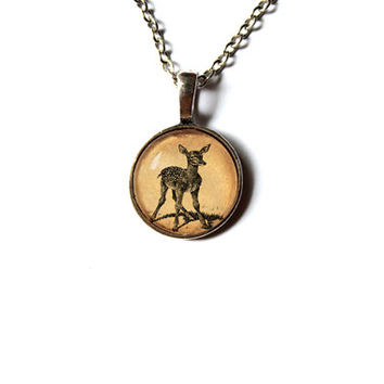 Baby deer pendant Cute animal jewelry Little stag necklace n300