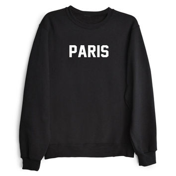 PARIS Women's Casual Black Gray Pink & White Crewneck Sweatshirt