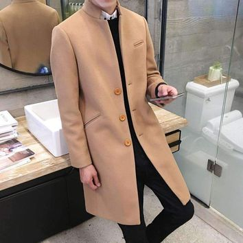 Mens Boutique Business Station Collar Woolen Cloth Windbreaker Coats Male Slim Casual Jackets