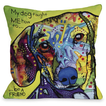 """Dachshund"" Indoor Throw Pillow by Dean Russo, 16""x16"""