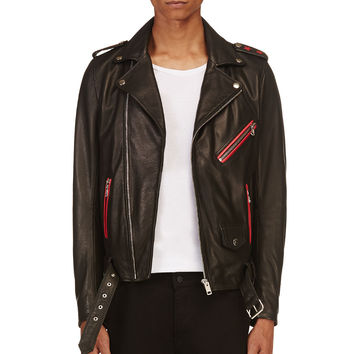 Diesel Black Grained Leather L-seddikko Jacket