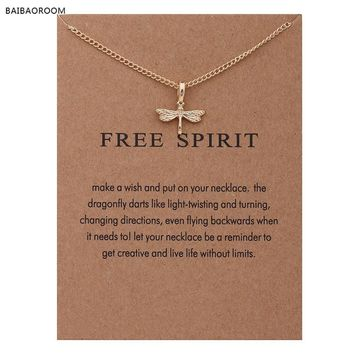 """Fashion Jewelry Reminder """"Free Spirit"""" Gold-color Dragonfly Pendant Necklace Women"""