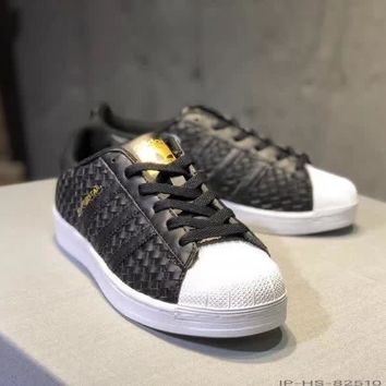 """Adidas Superstar II"" Women Casual Fashion Weave Plate Shoes Sneakers"