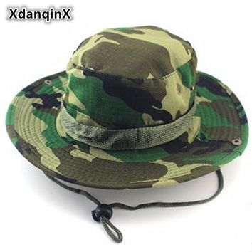 XdanqinX Summer Men's Jungle Camouflage Bucket Hats Fashion Casual Flat Top Sun Hat Rope Fixing Panama Brand Hat Unisex