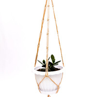 Hanging Planter - Beige Macrame  Plant  Holder - 28 inches 3mm - Cinnamon cord - Hanging Plant Holder - Pot Holder - Plant Basket