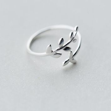 (So Thin) Lady's Real. 925 Sterling Silver Branch Olive of Leaf RING Adjustable J1225