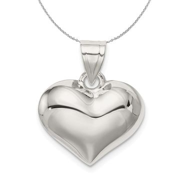 Sterling Silver 18mm Puffed Heart Necklace