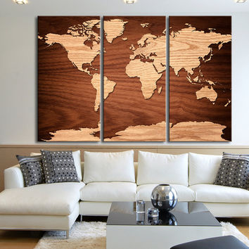 Large Wall Art World Map on Natural Birch Wood Grain Panels Canvas Print - Streched - Giclee - Gallery Wrap Large Size Wall Art Map Canvas