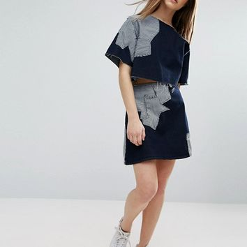 Waven Petite Contrast Patchwork Crop Top at asos.com
