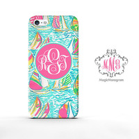 Monogram iPhone 5 Case Spring Boat Regatta, customized monogram iPhone 5C Case, available iPod Touch 4 iPod 5 case