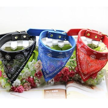 3 Colors Fashion Dog Bandana Collar Cat Scarf Tie Leather Neckerchief for Small Large Dog Collar Custom Necklace Pet Accessories