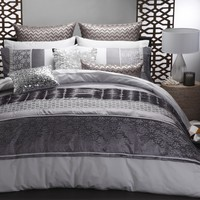 Bohemia Mink Quilt Cover Set by Ultima - Just Bedding