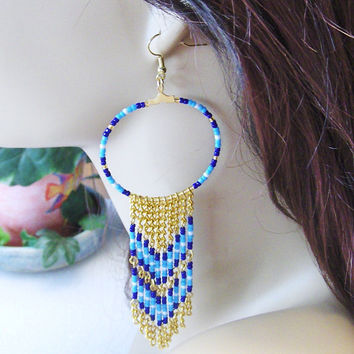 Unique Native American Inspired Beaded Hoop Earrings With Beaded Gold Tone Chains