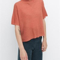 Creatures of Comfort Mock V Neck Tee High Twist Wool Coral