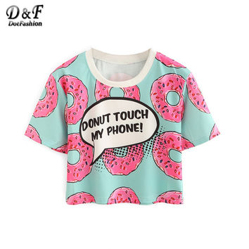 Dotfashion Women Contrast Crew Neck Donut Print Crop Tops Summer Style Cute New Casual Ladies Tees Short Sleeve T-shirt