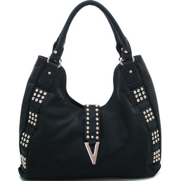 Women's Rhinestone Fashion Hobo Bag w/ Gold Studs & Gold Chevron Accent - Black Color: Black