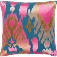 Ara Pillow ~ Bright Pink, Tan, Taupe, Teal