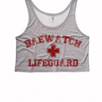 BAEWATCH LIFEGUARD Boxy Crop Top | Bae Racer Back Tanks | Boxy Crop Top Tank Baewatch Beach Tank | Spring Break Womens Crop Top
