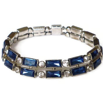 Art Deco Czech Bracelet Sapphire Blue Clear Paste Rhinestone Silver Antique Jewelry