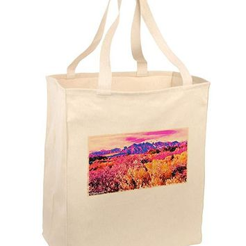 Colorful Colorado Mountains Large Grocery Tote Bag by TooLoud