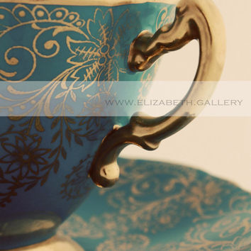 Regal Tea Cup Photography 8x10 Wall Print - Blue and Gold Vintage Tea Cup Print