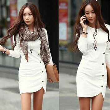 ONETOW Winter Long Sleeve Casual Autumn Dress = 1931825604