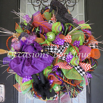 Halloween Wreath, Witch Wreath, Halloween Decoration, Halloween Party, Wreath for Door, Fall Wreaths, Front door wreath, Large Wreath