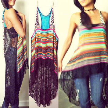 Dream Catcher Crochet Net Boho Hi-Low Racer Tunic Dress