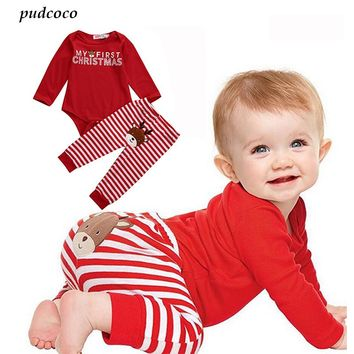 2 Pcs Christmas Newborn Baby Boy Girl Clothes Babies Letter Bodysuit Onesuit+ Stripe Deer Pants Outfit Xmas Clothing