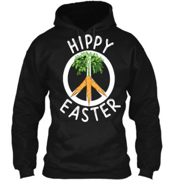 Funny Hippy Easter T-shirt Boho Peace and Carrots Gift Shirt Pullover Hoodie 8 oz