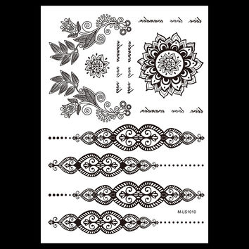 1pc Fashion Waterproof Tatoo Jewelry Design BM-LS1010 Temporary Black Flower Letter Tattoo for Women Body Art Sticker Decoration