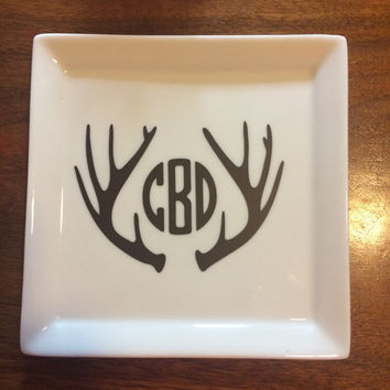 Antler Jewelry Dish, personalized  jewelry holder, Bridesmaid gifts, nurse appreciation, valentine gift teacher gifts, jewelry tray,