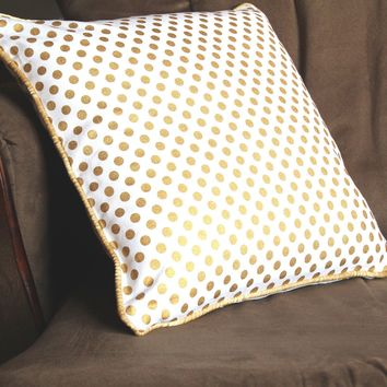 Metallic Gold Dots Throw Pillow