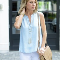 Chambray Tank with Cutout - Glam -$75 | Hand In Pocket Boutique
