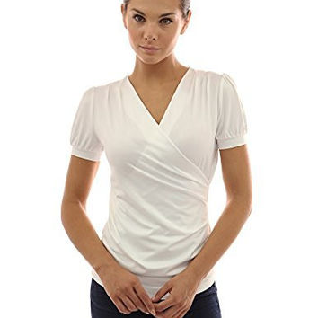 PattyBoutik Women's Puffed Short Sleeve Faux Wrap Top (Ivory XL)