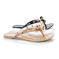 Joanie43A Jelly Pyramid Studded Bow Thong Flat Slip On Sandals
