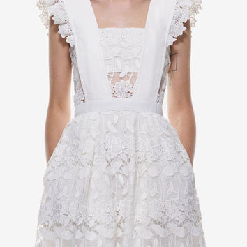 White Lace Flounces Shoulder Hollow Flare Dress Wedding Homecoming Party Dress