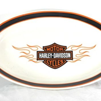 Harley-Davidson® Flames Bar & Shield® Ceramic Platter HDFLM-587