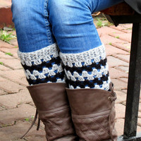 Grey Blaack Short Square Knit Boot Cuffs. Chevron Short Leg Warmers. Crochet Boot Cuffs.