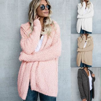 Women Long Sleeve Fur Cardigan Loose Sweater Outwear Jacket Coat Sweater