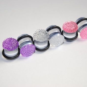 Rhinestone 00g (10mm) Acrylic Plugs, Ear Gauges, Unisex, Formal, Stretched Ears, Women, Pink, Purple, Crystal, Plugs for Girls, CHOOSE COLOR