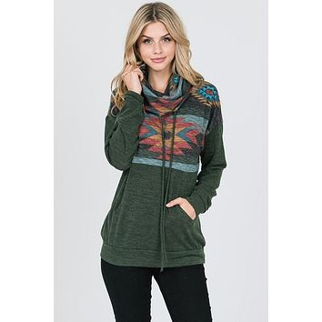 Aztec Cowl Neck Top - Olive