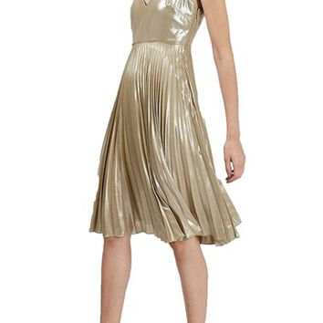 Topshop Metallic Plunge Pleated Midi Dress (Petite) | Nordstrom