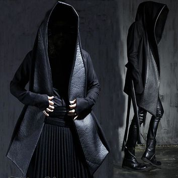 Only Size M Men's Fashion Leather Long Hooded Woolen Trench Coats Black Gothic Cloak Overcoat Hot-selling 2017 Winter New