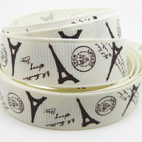 Paris Eiffel Tower on White Printed Grosgrain Sewing Craft Ribbon