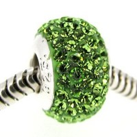 Sterling Silver Simulated August Birthstone Round Green Crystal European Style Bead Charm