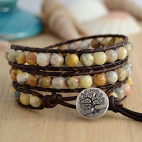 Natural earthy wrap bracelet. Pale stone bohemian bead jewelry