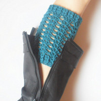 Crochet Textured Boot Cuffs in Teal, ready to ship.